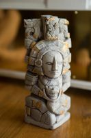 African Totem Pole Side Light Perspective by LadyCarolineArtist