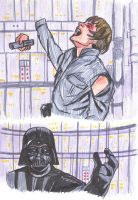 SW colored sketches - Vader cuts off Luke's hand by KatyTorres