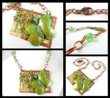 Copper Green Butterfly Vintage Flower Necklace by DryGulchJewelry