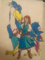 me and my loftwing aria drawing by xion9299