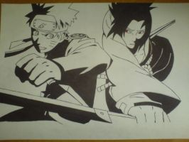Naruto and Sasuke by black-wolf-92
