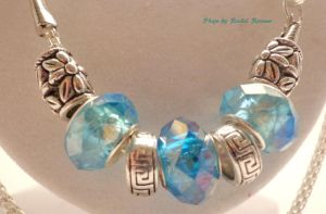 Silver and Sky Blue Pandora Style Necklace by TheSortedBead