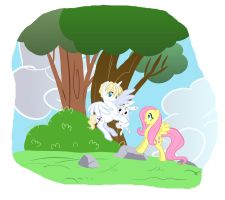 Quatre Helps Fluttershy by SapphireGamgee