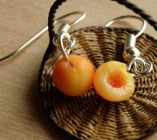 Polymer Clay Peach Earrings by fairchildart