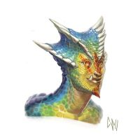 Scaly Rainbow Bust by CBSorgeArtworks