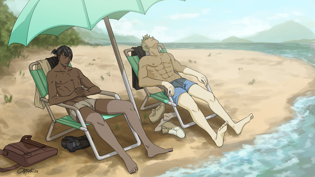 beach nap by mangoekaki