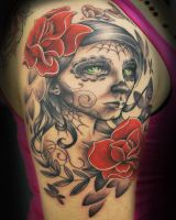 Sugar Skull Girl Tattoo by joshing88