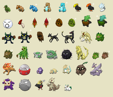 F3nx 17-color fakemon sprites by princess-phoenix