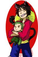 Luffy and Chibi!Zoro by Sogequeen2550