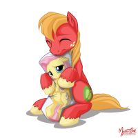 Big Mac and Fluttershy Pillow by mysticalpha