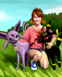My cousin with espeon and umbreon by king-ghidorah