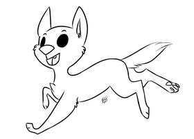 free running chibi dog lineart by purplepaopu