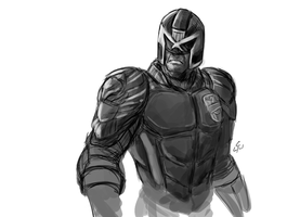 Judge Dredd sketch by OniChild