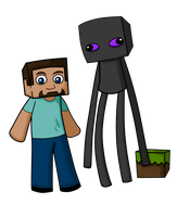 Enderbro and Steve by CubedCake