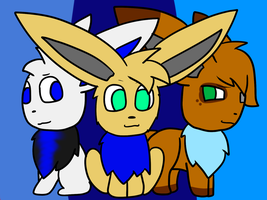 Eevee Trio by Tegan-the-Great