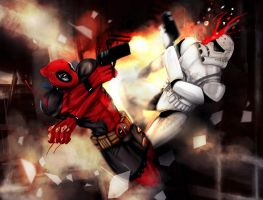 DEADPOOL VS STAR WARS TROOPER by suspension99