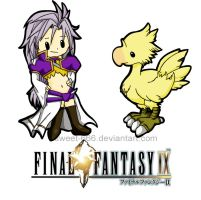 Kuja and Chocobo by sweet-666