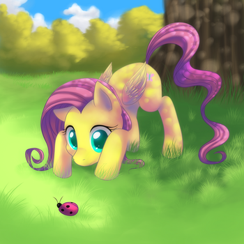 Fluttershy and the little bug by Jacky-Bunny