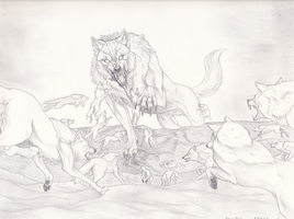 Wolves vs The Mutant Wolf by TheSodaSmuggler