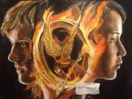 Katniss and Peeta the hunger games drawing by MelieseReidMusic