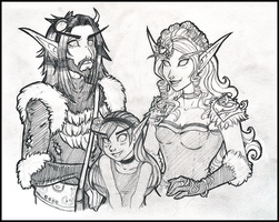 Commission - Myralion, Ilaera, and Child by TouchedVenus