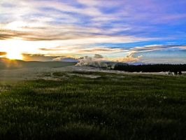 Old faithful at sunset by KRHPhotography