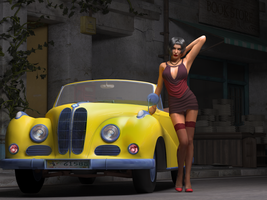 Lady and yellow BMW by caastel