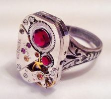 Steampunk Red Themed Ring by SteamDesigns
