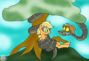 Kaa and Applejack Painted by lol20