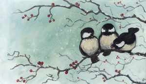 Christmas Card: chickadees by Camelid