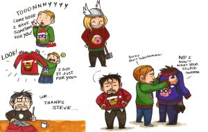 Avengers in Christmas Sweaters by McMitters