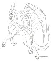Female dragon lineart -free- by Aarok