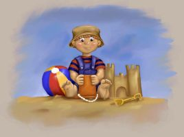 Boy in Sandbox by Anne-O