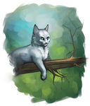 Cat on a tree by Happy--Cat