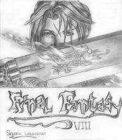 squall with gunblade sketch by xonnie