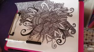 flower doodle in process by Dharrina