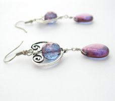 Purple Czech Glass Heart Earrings by MoonlightCraft