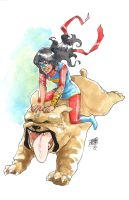 Ms. Marvel and LockJaw by ArtisticPhun