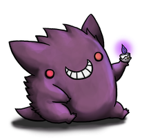 Gengar and Hitomoshi by BakaMichi