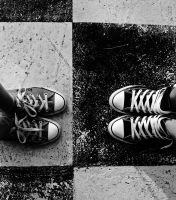 Black and white Converse by kath200208