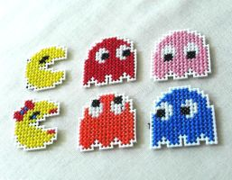 Pac-Man Sprite Magnets by agorby00