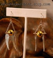 Large Golden Snitch Earrings by kittykat01