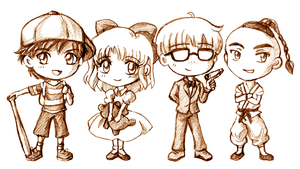 EarthBound Chibs - Chosen Four by amako-chan