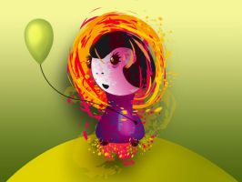 Girl with balloon by melemel