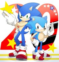 Sonic and Classic Sonic by yuki8686