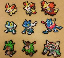 Pokemon Kalos Starters and Evolutions Perlers by jrfromdallas