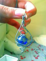 Handmade galvanized steel thread pendant by Amara-BMG
