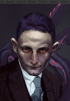 Lovecraft mugshot WIP by FluorineSpark