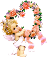 Cute Little Angel with Flowers PNG Clipart by joeatta78