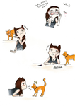 Me and my cat as Chibis by Inakia